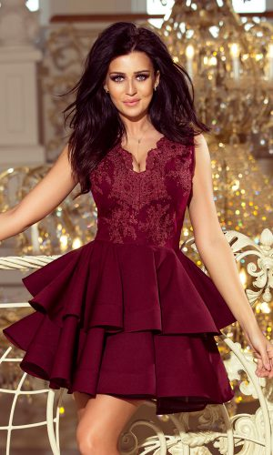 CHARLOTTE – Exclusive φόρεμα με δαντέλα στο ντεκολτέ – Burgundy color